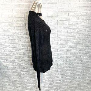 New York Laundry Sweaters - New York Laundry Black Open Weave Sweater